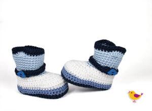 Babystiefel hellblau-blau