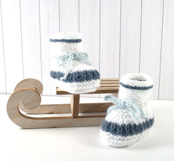 Babystiefel weiss-altrosa, weiß-blau