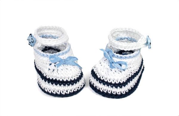 Babyschuhe weiß-blau