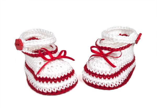 Babyschuhe weiß - rot